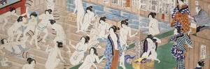 A Scene Inside a Bath House with Quarrelling Women by Utagawa Yoshiiku