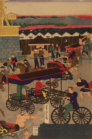 Flourishing Nihonbashi Section of Tokyo, (Tokyo Nihonbashi Han Ei No Z) Triptych
