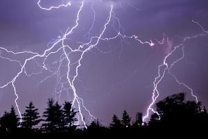 Three Frames of Lightning Hitting Cedar Hills Area by Utah-based Photographer Ryan Houston