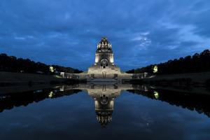 Battle of the nations monument, Leipzig by the blue hour, water reflection by UtArt