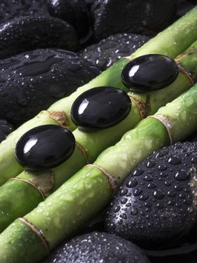 Black Stones on Bamboo by Uwe Merkel