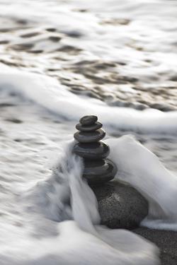 Tower Made of Stones, Sea, Surf by Uwe Merkel