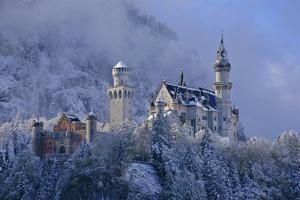 Germany, Bavaria, Neuschwanstein Castle in Winter, Morning Fog, Schwangau Near FŸssen by Uwe Steffens