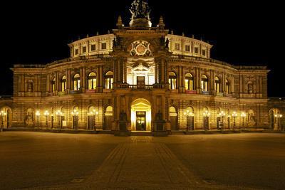 Illuminated Semperoper in Dresden in the Evening