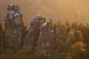 Sandstone Rocks, Saxon Switzerland, Evening Light by Uwe Steffens