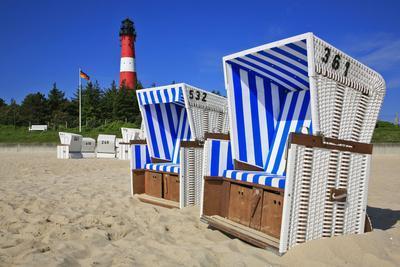 Sylt, Beach Chairs with Lighthouse on the East Beach of Hšrnum