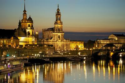 View over the Elbe on the Illuminated Dresden with City Palace