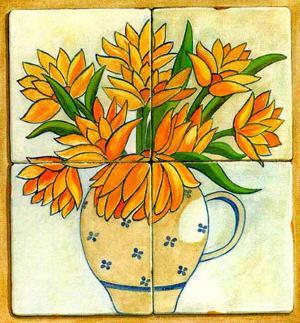 Jarras con Flores I by V. Alber