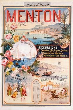 Poster Advertising Menton as a Winter Resort by V. Nozeran