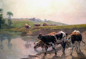 Pasture Cattle at Watering Hole by Vaclav Brozik