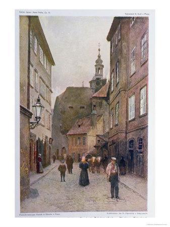 Maiselova Ulice, Prague, Illustration from 'stara Praha