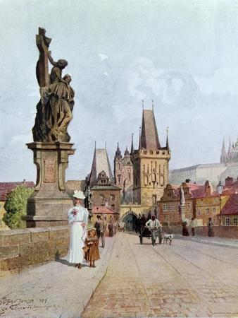 "Statue of St. Lutgardis on the Charles Bridge, Prague, Illustration from ""Stara Praha ,"" circa 1900"