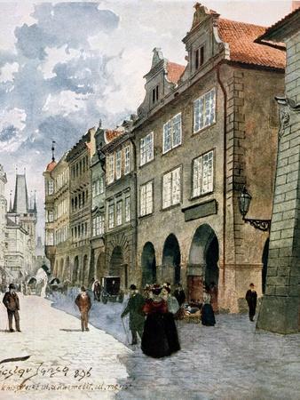 Ulice K Mostu, Mala Strana, Prague, Illustration from Stara Praha