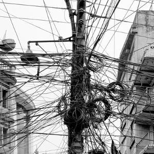 The Chaos of Cables and Wires in Kathmandu - Nepal (Black and White) by Vadim Petrakov