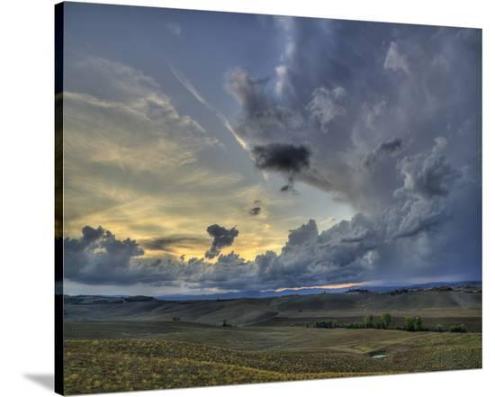 Val d'Orcia Sunset in Storm-Richard Desmarais-Stretched Canvas Print