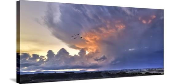 Val d'Orcia Sunset-Richard Desmarais-Stretched Canvas Print