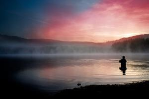 Fishing Early In The Morning by Val Thoermer