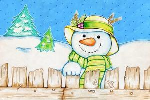 Snowman Fence by Valarie Wade