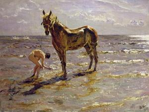 Bathing a Horse, 1905 by Valentin Aleksandrovich Serov