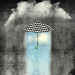 A Surreal Image of an Umbrella Checkered Black and White, Where below it There is Good Weather and by Valentina Photos