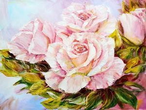 Beautiful Roses, Oil Painting on Canvas by Valenty