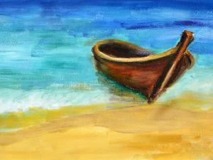 Boat on the Beach, Oil Painting on Canvas by Valenty