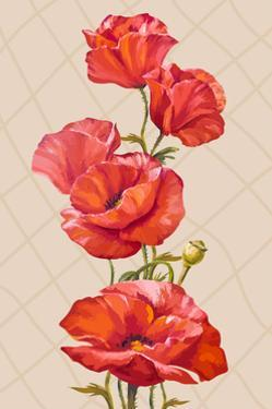 Oil Painting. Card with Poppies Flowers by Valenty