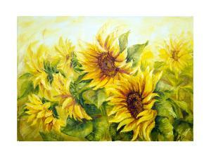 Sunny Sunflowers, Oil Painting On Canvas by Valenty