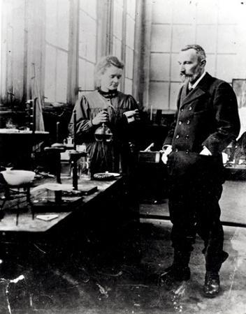 Pierre (1859-1906) and Marie Curie (1867-1934) in their Laboratory, c.1900