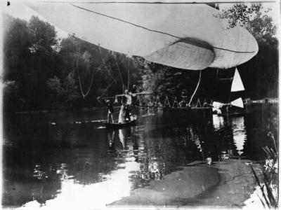 The Airship of Alberto Santos-Dumont (1873-1932) Landing in Bois de Boulogne in the Rothschild…