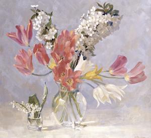 Cherry Blossom and Red Tulips by Valeriy Chuikov