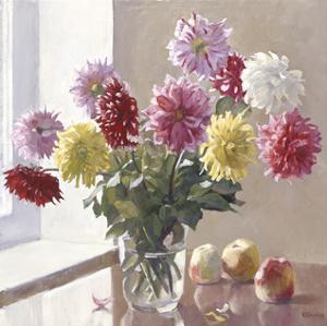 Dahlias and Fruit by Valeriy Chuikov