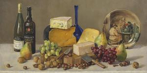 Still Life With Wine And Cheese by Valeriy Chuikov