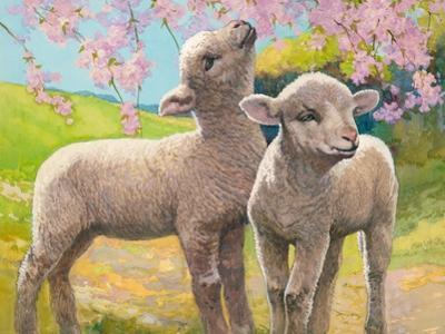 Two Lambs Eating Blossom