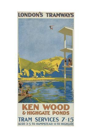Kenwood and Highgate Ponds, London County Council (LC) Tramways Poster, 1927 by Van Jones