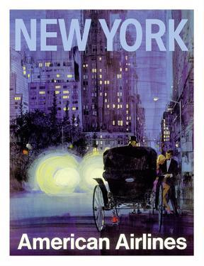 New York - Central Park Horse Carriage at Night - American Airlines by Van Kaufman