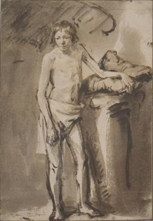 Life Study of a young man standing by Van Rijn Rembrandt