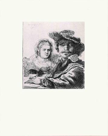 Rembrandt and his Wife Saskia by Van Rijn Rembrandt