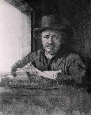 Self-Portrait While Drawing at a Window by Van Rijn Rembrandt