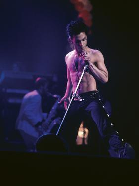 Prince, Shirtless on Stage, March 1986 by Vandell Cobb