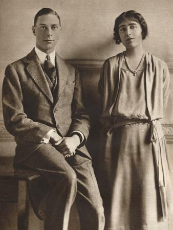 Lady Elizabeth Bowes Lyon and the Duke of York Upon the Announcement of their Engagement, 1923