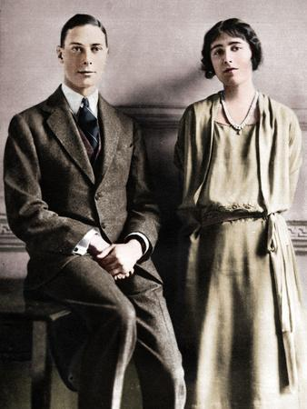 'Lady Elizabeth Bowes Lyon and the Duke of York upon the announcement of their engagement', 1923
