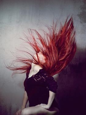 Young Redhead Throwing Head Back by Vania Stoyanova