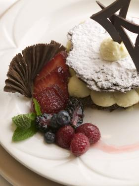 Variety of Desserts with Berries and Chocolate