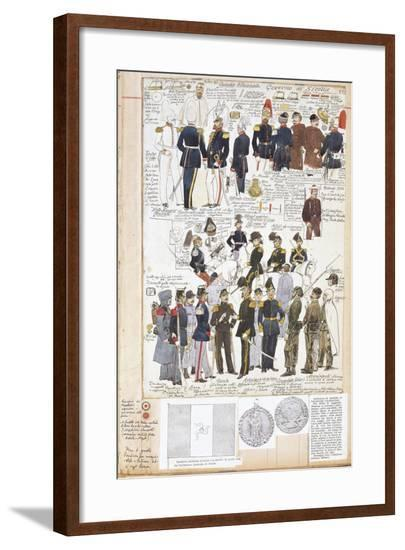 Various Uniforms of Provisional Government of Sicily, Color Plate, 1848--Framed Giclee Print