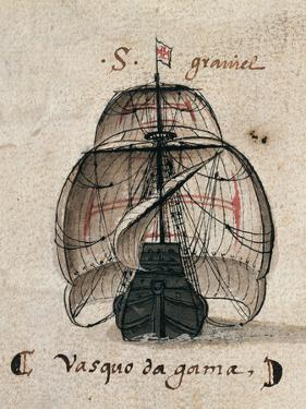 Vasco Da Gama's Caravel, Illustration from 'Memorias Das Armadas', C.1568