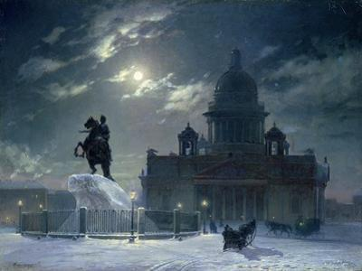 View of the Monument to Peter the Great in Senate Square, St. Petersburg, 1870
