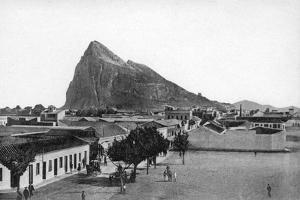 The Rock of Gibraltar from La Linea Bull Ring, Spain, Early 20th Century by VB Cumbo