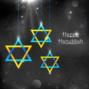 Illustration of Happy Hanukkah Background with Hanging Star of David by vectomart