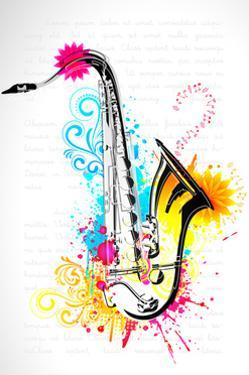 Illustration of Saxophone on Abstract Floral Background by vectomart